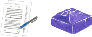 書類と風呂敷包みのイラスト
