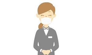 スタッフのマスク着用および健康管理
